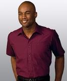 Men's Value Broadcloth Shirt SS Burgundy Thumbnail