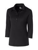 Women's Cutter & Buck DryTec 3/4 Sleeve Chelan Polo Shirt Solid Black Thumbnail