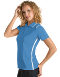 Women's Antigua Merit Desert Dry Polo Columbia Blue with White Thumbnail