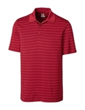 Cutter & Buck Men's DryTec Big & Tall Franklin Stripe Polo Shirt Cardinal Red with White Thumbnail