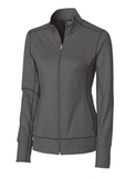Women's Cutter & Buck Drytec Long Sleeve Topspin Full-zip Pullover Charcoal Heather Thumbnail