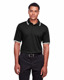 Men's CrownLux Performance™ Plaited Tipped Polo Black with White Thumbnail
