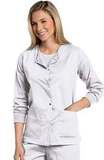Women's All Day Snap Front Warm Up Scrub Jacket White (WWMST) Thumbnail