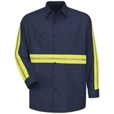 Long Sleeve Enhanced Visibility Shirt Navy with Yellow Green Visibility Trim Thumbnail
