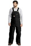 Duck Quilt-Lined Zip-To-Thigh Bib Overalls Black Thumbnail