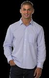 Mens Long Sleeve Untucked Stripe Shirt Blue Stripe Thumbnail