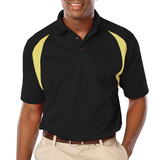 Men's Raglan Wicking Polo Black with Vegas Gold Thumbnail