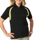 Women's Raglan Wicking Polo Black with Vegas Gold Thumbnail