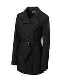 Women's Cutter & Buck WeatherTec Mason Trench Coat Black Thumbnail