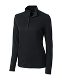 Women's Cutter & Buck Long Sleeve Belfair Half-Zip Mock Turtleneck Black Thumbnail