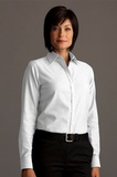 Greg Norman Women's Easy-care Dobby Woven Long Sleeve Dress Shirt White Thumbnail