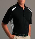 Play Dry Performance Blocked Golf Shirt Black with White Thumbnail