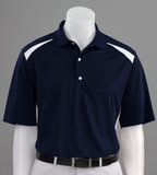 Play Dry Performance Blocked Golf Shirt Navy with White Thumbnail