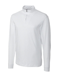 Cutter & Buck Men's Pima Cotton Long Sleeve Belfair Half-Zip Mock Turtleneck White Thumbnail