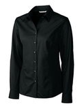 Women's Cutter & Buck Big & Tall Long Sleeve Epic Easy Care Fine Twill Black Thumbnail