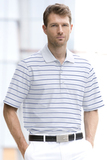 Greg Norman Play Dry Performance Striped Mesh Polo White with Cobalt (White and Cobalt) Thumbnail