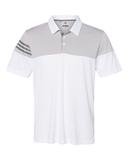 Adidas Heather 3-Stripes Block Golf Shirt White with Vista Grey Thumbnail
