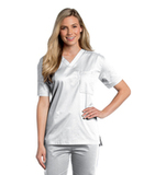 All Day Unisex V-neck scrub top White (WWMST) Thumbnail