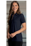 Women's Greg Norman X-Lite 50 Solid Woven Polo Navy Thumbnail