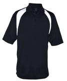 Reebok Color Block Athletic Golf Shirt Black with White Thumbnail
