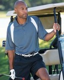 Reebok Color Block Athletic Golf Shirt Charcoal with White Thumbnail
