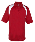 Reebok Color Block Athletic Golf Shirt Red with White Thumbnail