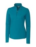 Women's Cutter & Buck Long Sleeve Advantage Mock Turtleneck Teal Blue Thumbnail