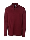 Cutter & Buck Men's Pima Cotton Long Sleeve Belfair Half-Zip Mock Turtleneck Bordeaux Thumbnail