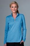 Greg Norman Women's Heathered 1/2-zip Jersey Knit Pullover Varsity Heather Thumbnail