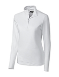 Women's Cutter & Buck Long Sleeve Belfair Half-Zip Mock Turtleneck White Thumbnail