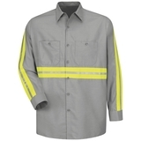 Long Sleeve Enhanced Visibility Shirt Light Grey with Yellow Green Visibility Trim Thumbnail