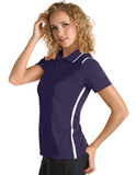Women's Antigua Merit Desert Dry Polo Dark Purple with White Thumbnail