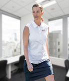 Women's Cutter & Buck Sleeveless Polo White Thumbnail