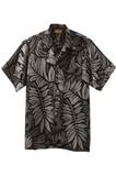 South Seas Leaf Print Camp Shirt Black Thumbnail