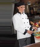 Ten Black Button Chef Coat White Thumbnail