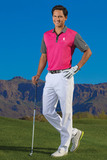 Nike Golf Dri-FIT Colorblock Icon Modern Fit Polo Vivid Pink with Dark Grey Thumbnail