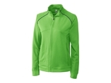 Women's Cutter & Buck DryTec Edge Full-Zip Jacket Cilantro with Navy Blue Thumbnail