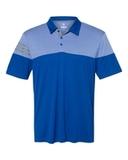 Adidas Heather 3-Stripes Block Golf Shirt Collegiate Royal Thumbnail