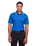 Men's CrownLux Performance™ Plaited Tipped Polo French Blue with Wht Thumbnail