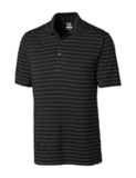 Cutter & Buck Men's DryTec Big & Tall Franklin Stripe Polo Shirt Black with White Thumbnail