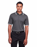 Men's CrownLux Performance™ Plaited Tipped Polo Graphite with White Thumbnail