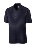 Cutter & Buck Men's DryTec Big & Tall Franklin Stripe Polo Shirt Navy Blue with White Thumbnail