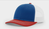 Richardson Mesh Back Trucker Cap Royal with White and Red (TRI) Thumbnail
