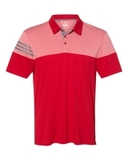 Adidas Heather 3-Stripes Block Golf Shirt Power Red Thumbnail