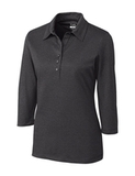 Women's Cutter & Buck DryTec 3/4 Sleeve Chelan Polo Shirt Charcoal Heather Thumbnail