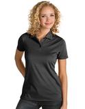 Ladies Antigua Quest Polo Black with White Thumbnail
