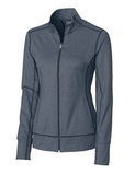 Women's Cutter & Buck Drytec Long Sleeve Topspin Full-zip Pullover Navy Blue Heather Thumbnail