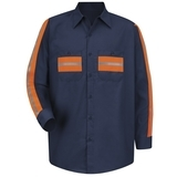 Long Sleeve Enhanced Visibility Shirt Navy with Orange Visibility Trim Thumbnail