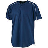 Wicking Two-button Baseball Jersey Navy with White Thumbnail