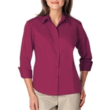 Women's 3/4 Sleeve Easy Care Poplin With Matching Buttons Berry Thumbnail